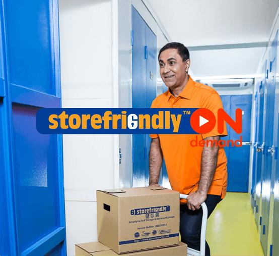 man packing storage unit
