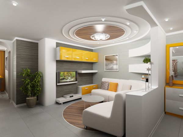 yellow and grey interior design