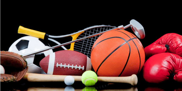 sports equipment laid out on a table