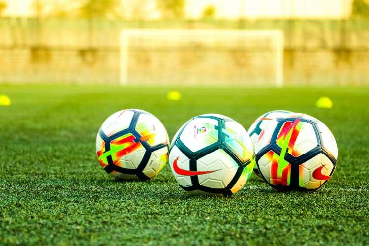 Socker field with balls