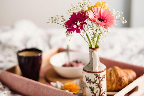 breakfast tray in bed