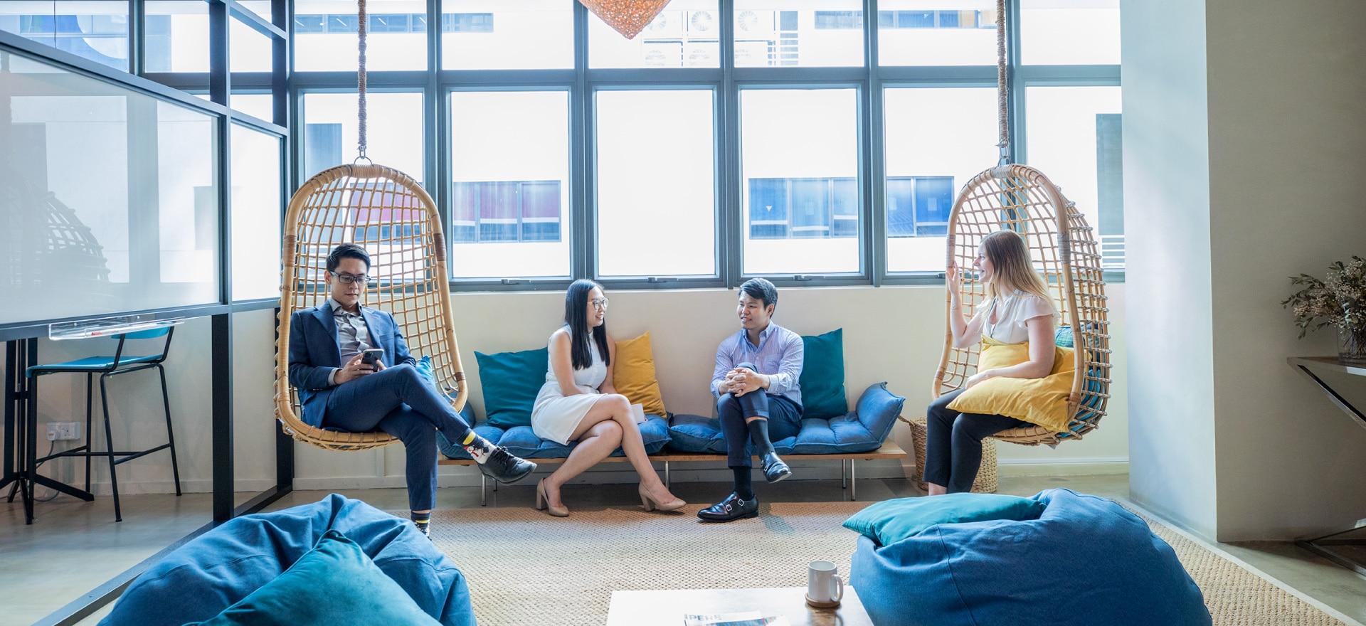 People sitting in communal space