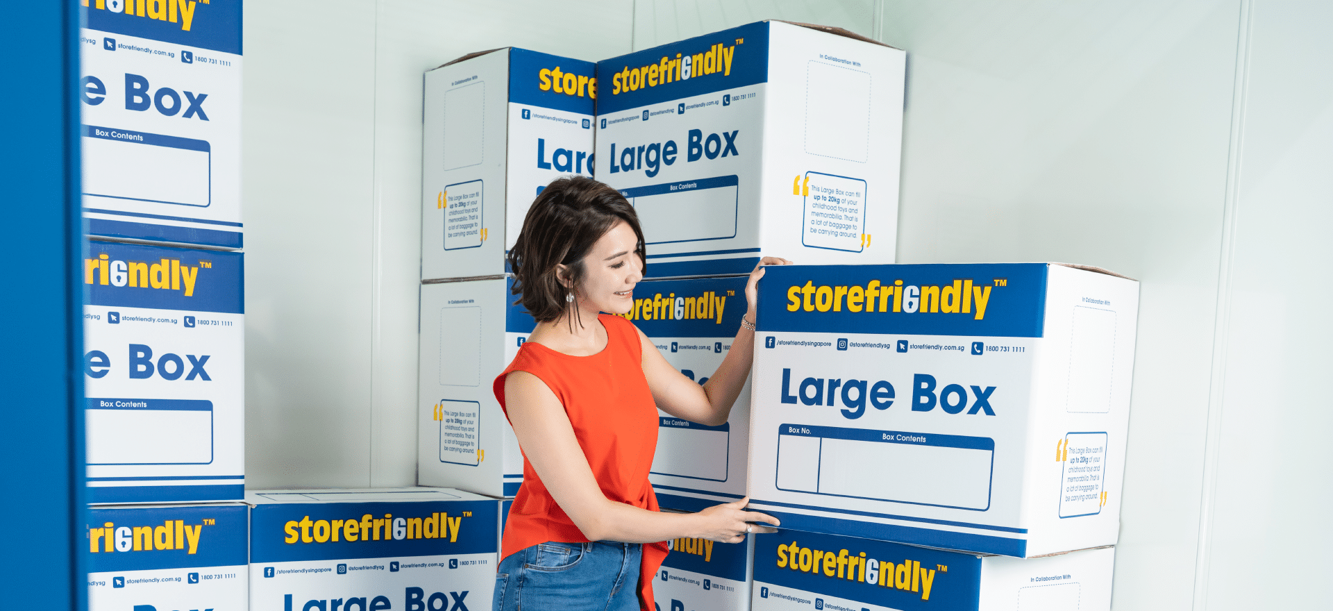 woman with storage boxes