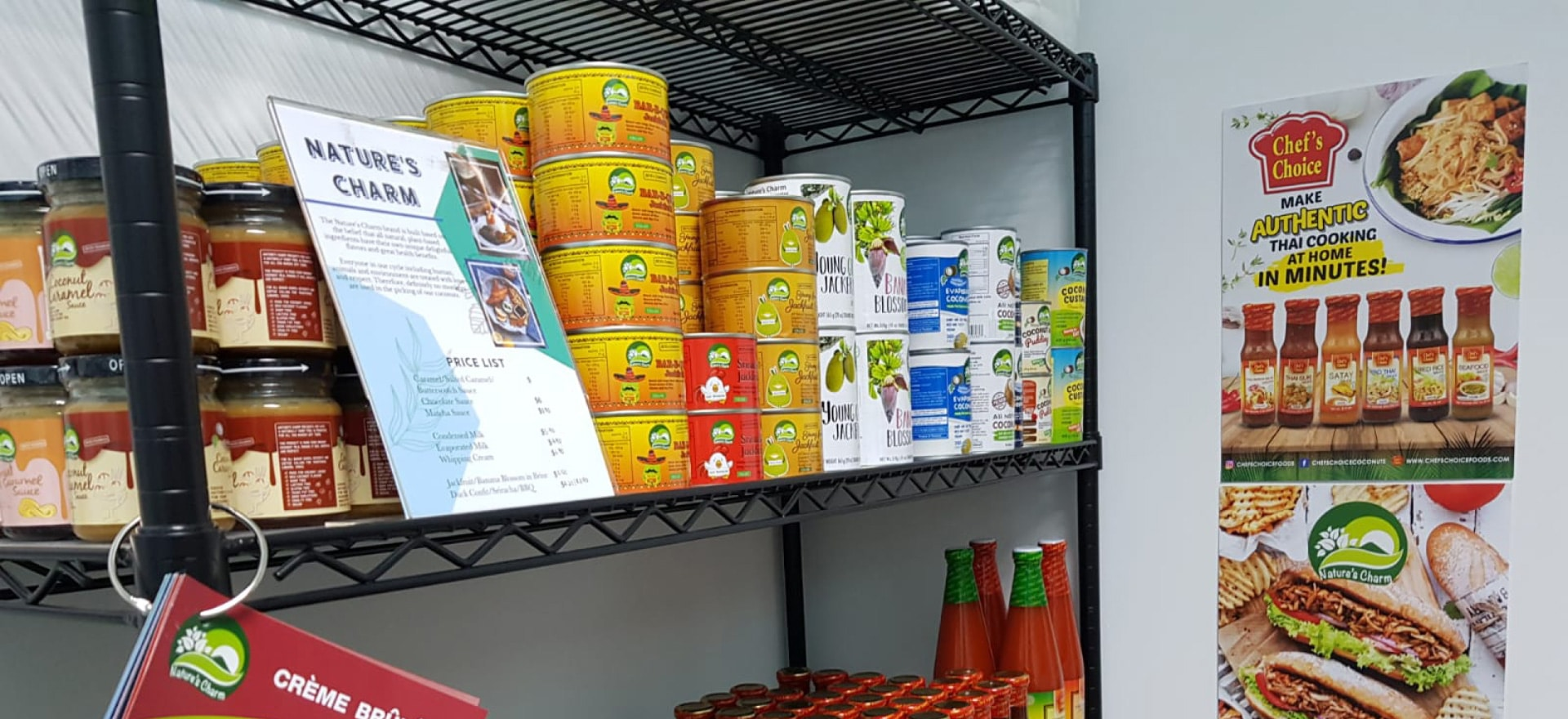 A food pantry stacked with processed food