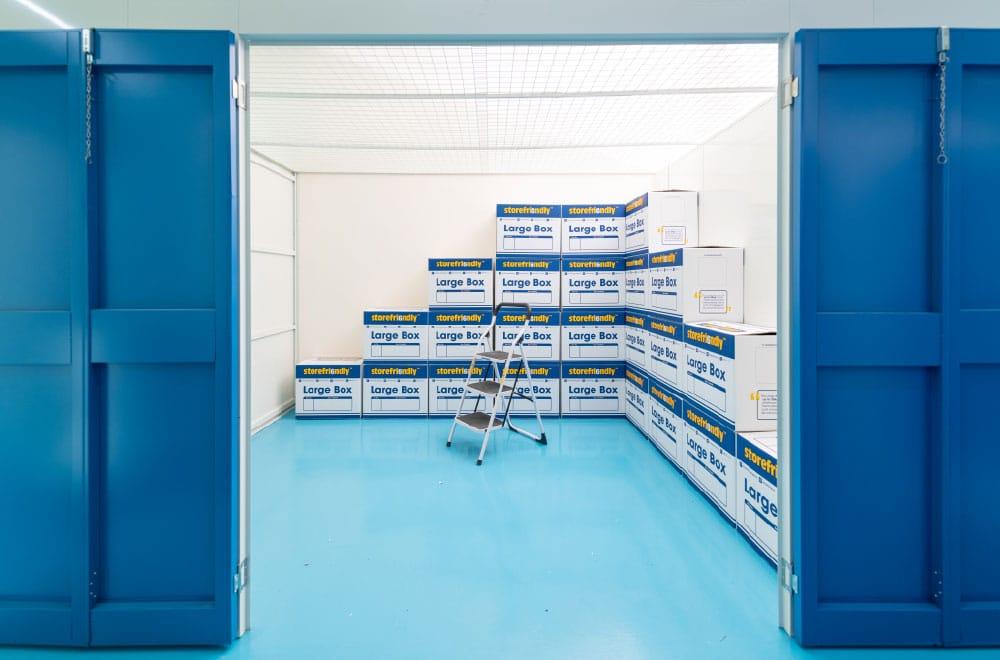 Storefriendly boxes inside a storage unit