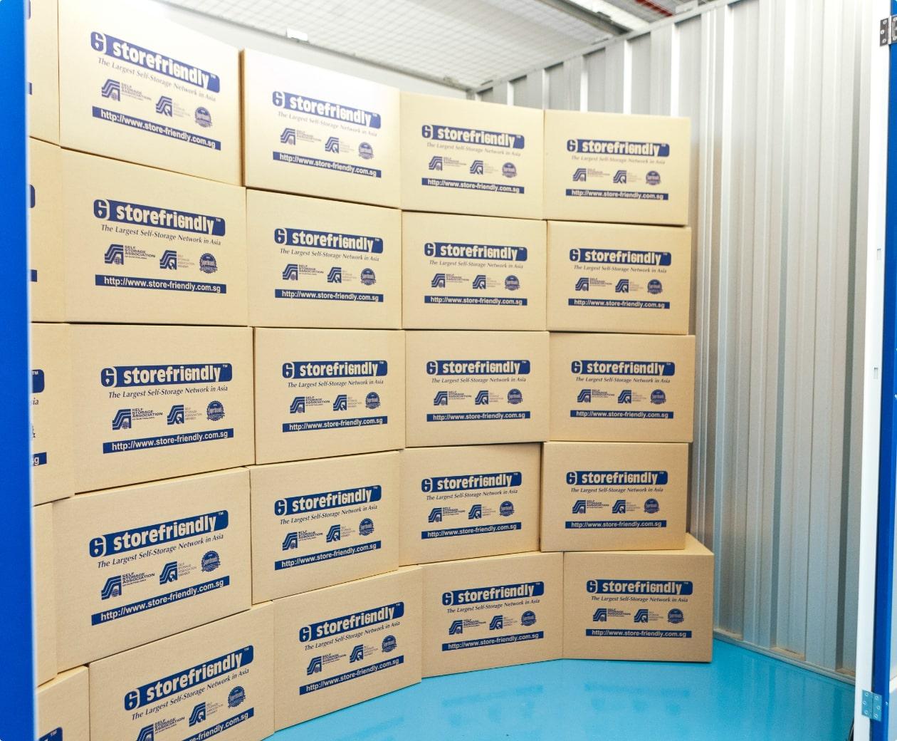 Storefriendly cardboard boxes inside a storage unit