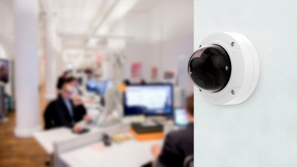 A CCTV camera installed on the office wall